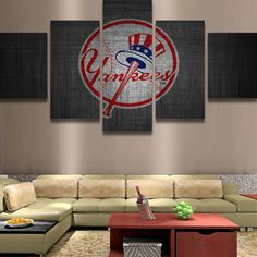 5 Piece New York Yankee Logo Baseball Canvas Painting Frames - It Make Your Day Canvas Frame, Canvas Wall Art, Wall Art Prints, Canvas Prints, Yankees Logo, New York Yankees Baseball, Ny Yankees, Baseball Canvas, Art Paintings For Sale