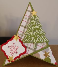 Teepee Card - using Stampin' Up! Peaceful Pines Stamp Set and Merry Moments DSP.