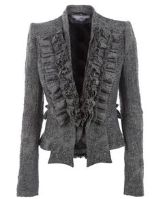 gray ruffly jacket.. best things all in one!