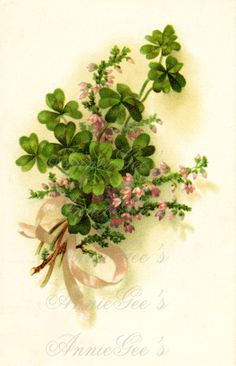 Four Leaf Clover Nosegay Bouquet Vintage Art  Instant by AnnieGees, $2.50