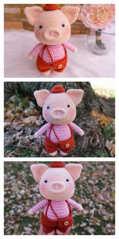 Educational and interesting ideas about amigurumi, crochet tutorials are here. Crochet Fairy, Crochet Pig, Crochet Animal Amigurumi, Crochet Animal Patterns, Knitted Animals, Crochet Doll Pattern, Stuffed Animal Patterns, Amigurumi Doll, Crochet Dolls