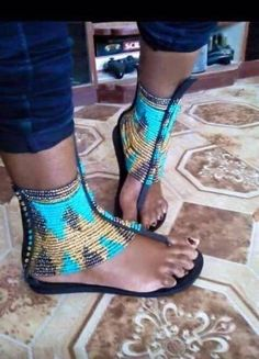 African leather Masai Hand crafted beaded Sandals. | eBay
