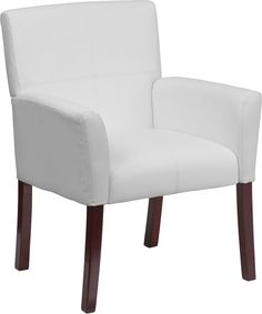 Width By Depth Height Flash Furniture White Leather Executive Side Reception Chair With Mahogany Legs