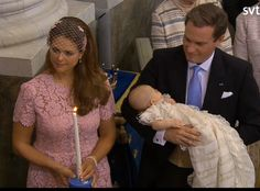 ready4royalty:  Christening of Princess Leonore Lilian Maria of Sweden, Royal Chapel at Drottningholm Palace, Stockholm, June 8, 2014-Leonore with her parents Princess Madeleine and Chris O'Neill