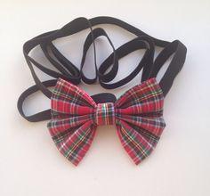 Tartan Headbow, Childrens Hair Accessory, Elasticated Headband, Fabric Hair Bow. by AvasAccessories1 on Etsy