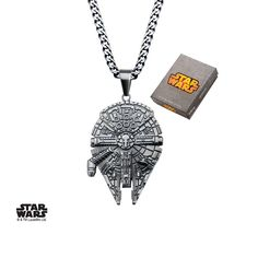PRODUCT DESCRIPTION: Activate the hyper-drive with the Millennium Falcon Pendant and Chain. Made of 316 Stainless Steel, this necklace is the fasted ship in the galaxy and the fastest way to spice up