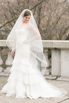 """Jaclyn Jordan style """"Allison"""" Chapel length, horse hair edged veil. Slightly gathered with a 30""""  blusher, and placed on a metal comb."""