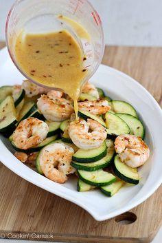 Shrimp & Zucchini Stir-Fry with Miso Lime Sauce via Cookin' Canuck
