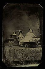 Unusual Abstract Antique Tintype Photo Group of China () Dolls 1870s
