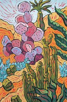 "Daily Paintworks - ""Cactus Crazy"" - Original Fine Art for Sale - © Monique Straub"