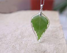 Birch Leaf Necklace  Green real leaf necklace  Leaf in