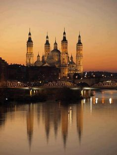 Sunset in Zaragoza, also known as Saragossa in Aragon, Spain. It is along the Ebro River in NE Spain.