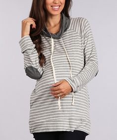 Chris & Carol White & Charcoal Elbow Patch Maternity Hoodie #zulily #zulilyfinds