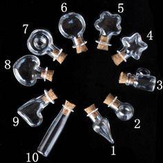 20 fioles en verre 10 formes différentes avec pitons à vis