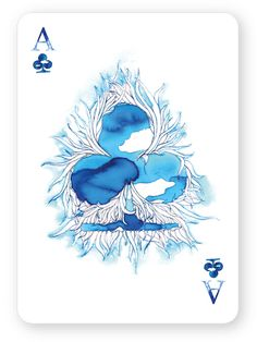 Ace of Clubs: Watercolour playing cards - by Cansu Cengiz