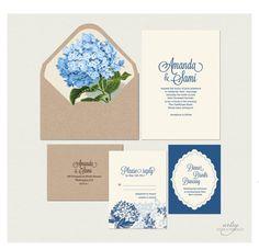 RUSTIC FLORAL Wedding invitations - Printable - Natural Kraft Card - Blue Hydrangea Suite $45.00