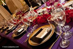 purple red and gold wedding reception. Change the gold to silver and it would be perfect! Purple And Gold Wedding, Purple Wedding, Purple Gold, Black Gold, Black Satin, Wedding Flowers, Spring Wedding, Wedding Colors, Purple Glass