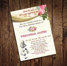 Alice in Wonderland Mad Hatter Bridal Shower Tea Party Invitation - for Birthday, Baby Shower, Bridal shower Tea Party - Printable DIY by StudioDMD on Etsy https://www.etsy.com/listing/193094725/alice-in-wonderland-mad-hatter-bridal