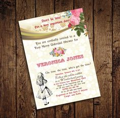 Alice in Wonderland Mad Hatter Bridal Shower Tea Party Invitation - for Birthday, Baby Shower, Bridal shower Tea Party - Printable DIY by StudioDMD on Etsy https://www.etsy.com/listing/193094725/alice-in-wonderland-mad-hatter-bridal