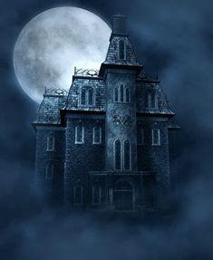 Haunted House free background by moonchild-ljilja on DeviantArt Spooky Places, Haunted Places, Gothic Fantasy Art, Dark Fantasy, Halloween Pictures, Halloween Art, Happy Halloween, Halloween Witches, Halloween Decorations