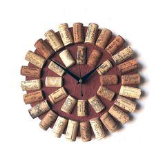 Cork Wall Clock - Recycled Wine Corks Clock - Brown Clock - Wine Lovers Gift…
