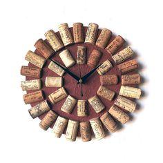 Cork Wall Clock - Recycled Wine Corks Clock - Brown Clock - Wine Lovers Gift…