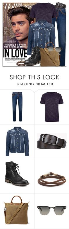 """""""Man Crush: Zac Efron"""" by coraline-marie ❤ liked on Polyvore featuring True Religion, River Island, Dsquared2, Belstaff, Caputo & Co., Want Les Essentiels de la Vie, Ray-Ban, men's fashion and menswear"""