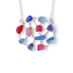 Pink, blue and purple sea glass necklace by Tania Covo