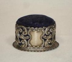 Antique English Pin Cushion w/elaborate Sterling Silver Crisford & Norris Cupids
