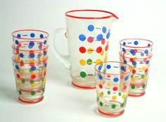Vintage beverage set - 1950's glass pitcher  with polkadots