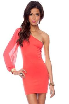 One Shoulder Chiffon Dress in Coral ::