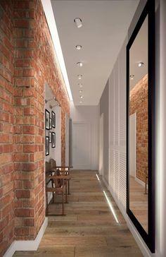 Entrance Hall Decor, House Entrance, Brick Interior, Casa Patio, Modern Flooring, Home Design Decor, Industrial House, Hallway Decorating, Exposed Brick