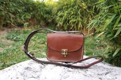 Chocolate brown Leather messenger bag by GalenLeather on Etsy