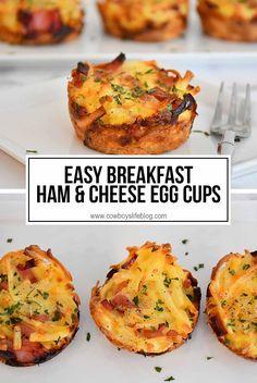 Bite Size Breakfast, Ham Breakfast, Breakfast Bites, Second Breakfast, Veggie Egg Cups, Ham Egg Cups, Brunch Recipes, Breakfast Recipes, Recipes