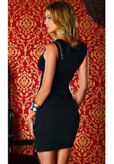 Short black dress with diagonal zip front and curls Forplay milan - Becitos.com