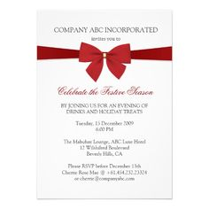 Simple Holiday Red Ribbon Corporate Party Cards