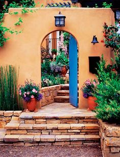 Exterior color, patio access from front of the house Spanish Style Homes, Spanish Revival, Spanish House, Spanish Colonial, Mexican Style Homes, Style Hacienda, Mexican Hacienda, Mexican Home Decor, Mediterranean Decor