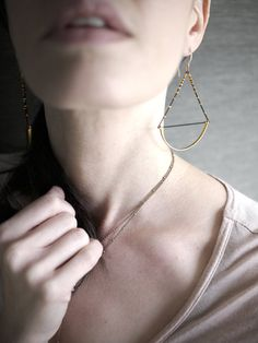 Minimal Geometric Hammered Brass and black chain by pookaqueen, $35.00