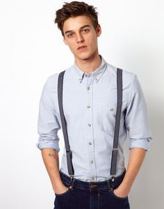 Awesome denim suspenders for the groom!
