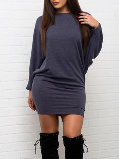 bfdd77acdd948f Shop Solid Batwing Sleeve Slinky Bodycon Dress – Discover sexy women  fashion at Boutiquefeel