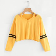Camisolas das mulheres Hoodies Listrado Amarelo Quente Cortadas Meninas Outono Pullovers Sexy Curto Estilo Coreano Camisola Felpe Tumblr #11 em Hoodies & Camisolas de Das mulheres Roupas & Acessórios no AliExpress.com | Alibaba Group