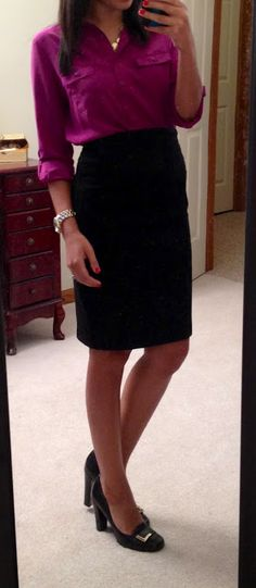 Old Navy blouse, Express pencil skirt, LOFT outlet necklace, NY&Co watch, Nine West pumps