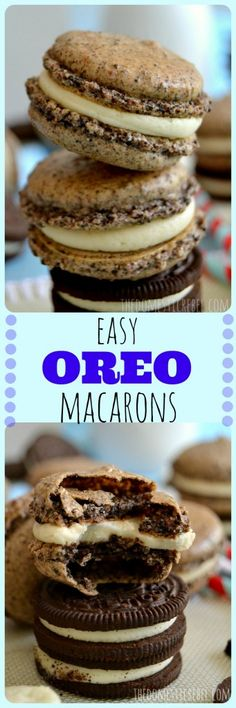These Easy Oreo Macarons taste just like the classic American cookie but with a French macaron twist! You'll love the creamy Double Stuf frosting!