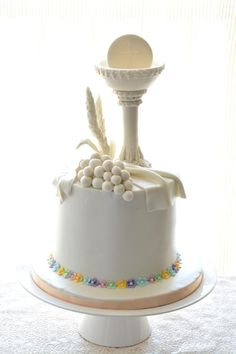 Purity with a touch of Pastels - cake by Tina Avira Tharakan Confirmation Cakes, Baptism Cakes, Religious Cakes, First Communion Cakes, Pastel Cakes, 3d Cakes, Pavlova, No Bake Cake, Amazing Cakes