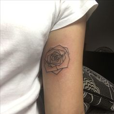 Second tattoo: geometric rose #rose #tattoo #underarmtattoo
