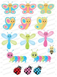 cute bugs. 15 digital Clip art set - Personal and commercial use on Etsy, $5.00