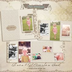 Linen 45x8 Accordion book templates for by 7thavenuedesigns, $10.00