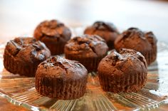 healthy chocolate muffins by Rens Kroes Healthy Chocolate Muffins, Healthy Cupcakes, Healthy Muffins, Choc Muffins, Sugar Free Recipes, Sweet Recipes, Snack Recipes, Dessert Recipes, Vegan Sweets