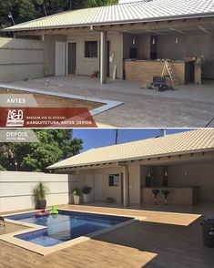 La imagen puede contener: casa y exterior Small Backyard Design, Backyard Pool Designs, Modern Backyard, Backyard Landscaping, Pool House Plans, New House Plans, Little Pool, Home Design Floor Plans, House Design