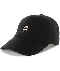 """When you appear to be upbeat, you can say anything you want. The Over It black unstructured hat from Empyre features an embroidered rainbow graphic on the front with the text """"Over It"""" below to show that you're just not feeling it today."""